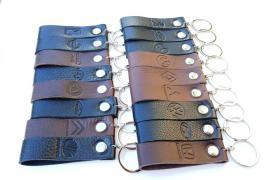 Keychain for car auto genuine leather