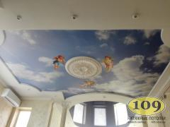 Photo printing on a stretch ceiling in a children's room. We are 16 years old